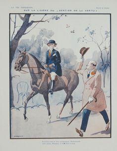 "La Vie Parisienne - Sur la lisière du ""Sentier de la Vertu"" - 1923 Original Magazine Illustration @RueMarcellin #UpscaleYourWalls with ruemarcellin.com"