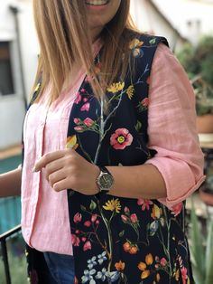 Floral waistcoat Greek Fashion, Slow Fashion, Fashion Brands, Bomber Jacket, Clothes For Women, Floral, Clothing, Jackets, Style