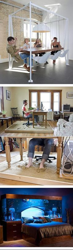 For Make Your House Awesome! Swinging Dining Set, Sand Pit Office Desk, and Sleeping with the Fish.