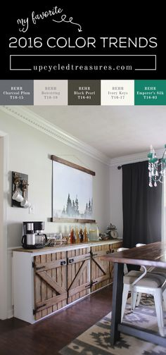 Check out the 2016 Color Trends from BEHR! My favorites are the the earthy paint colors that bring nature indoors. upcycledtreasures.com