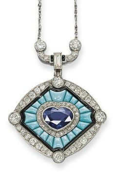 AN ART DECO SAPPHIRE, TURQUOISE AND DIAMOND PENDENT NECKLACE Set with a heart-shaped sapphire and diamond cluster in a turquoise sunburst panel bordered by black enamel, to the diamond oval outer frame with raised diamond collet details, suspended from a diamond geometric link and fine link chain with diamond-set bar accents, mounted in platinum, circa 1930.