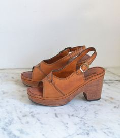 eb1c1b85ffd 1970s Platform Shoes   70s Wood   Leather Heels