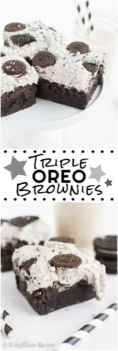 Triple Oreo Brownies - Thick and fudgy brownies, Oreo truffle filling, and fluffy Oreo frosting! THREE layers of Oreo deliciousness in one bite!