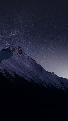 Mountain Night Snow Dark Star #iPhone #5s #wallpaper
