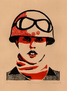 Flowering Minds Poly Styrene Lino/Woodcut - Limited edition of 35 Female Heroines, In Another Life, Tank Girl, Painting & Drawing, Printmaking, Street Art, Goth, Mindfulness, Punk