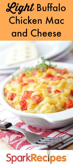 Buffalo Chicken Mac n Cheese: This hearty dish takes only 15 minutes of prep work and rings it at an amazing 173 calories per serving! Your whole family will love it! Cheese Recipes, Cooking Recipes, Healthy Recipes, Easy Recipes, Healthy Foods, Healthy Eating, Turkey Recipes, Chicken Recipes, Recipe Chicken