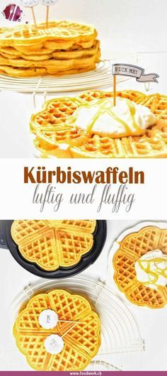 Luftige Waffeln mit Kürbis (süss) It smells wonderfully of freshly baked waffles. Airy and fluffy, t Baby Food Recipes, Sweet Recipes, Waffles, A Food, Food And Drink, Best Pancake Recipe, Homemade Baby Foods, Pumpkin Dessert, Evening Meals