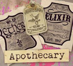 Apothacary Design Pack - Craft a vintage apothecary with these designs on bath decor and more. Please note that some of the in-the-hoop designs, in the same sizes, are in other sizes of this pack too.