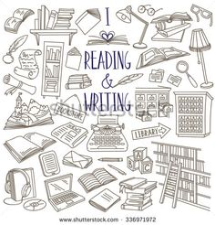 Reading and writing items collection. Books, magazines, newspapers, letters, piles of books, library catalog, bookshelf, typewriter. Vector hand drawn sketches isolated over white.