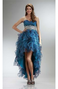 Graceful Strapless High Low Teal Organza Ruffle Beaded Prom Dress