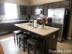 Decorating Cents: Kitchen Cabinets Revealed - using Rustoleum Cabinet Transformations Dark Kitchen Cabinets, Kitchen Cabinets, Kitchen Remodel, Kitchen Decor, Home Decor, New Kitchen, Home Kitchens, Kitchen Design, Kitchen Paint