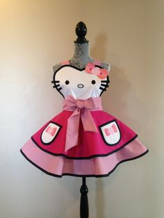Hello Kitty  Hello Kitty Costume  Retro Apron  by AriaApparel