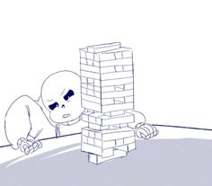 """rei-drome: """" """"Day Games """" Happy Cheer Up the Skeleton Week! I didn't do anything yesterday so I made a quick gif for today :D I feel like Sans would be amazing at jenga. Based off of this vine. Undertale Undertale, Undertale Comic Funny, Undertale Drawings, Undertale Pictures, Wattpad, Arcee Transformers, Game Happy, Sans And Papyrus, Toby Fox"""