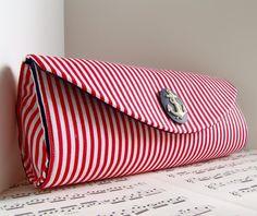 Nautical red white stripe clutch purse.