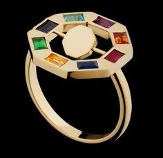 Hattie Rickards. Flip Octo Ring in 18ct Fairtrade Fairmined Ecological Gold with Precious stones.