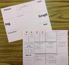 Foldable for Functions and Graphing