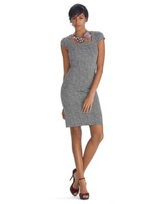 White House | Black Market Cap Sleeve Houndstooth Instantly Slimming Dress #whbm