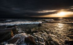 Download wallpapers sunset, sea, coast, waves, evening, seascape
