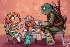 Tea time with Mr. Turtle! Wish it was me!    #)