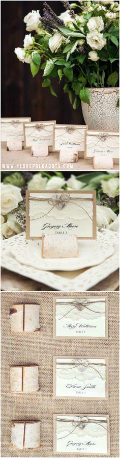 Rustic Eco Wedding Place Card with wooden birch bark holder #rustic #eco #wooden #wood #natural #nude #weddingideas #wedding #ecofriendly