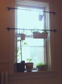 IKEA fintorp hung in front of windows with plants || kitchen nook