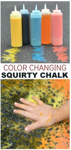 Sidewalk Squirty chalk that magically changes colors as kids play- my kids thought this was SO COOL! {An easy recipe for fun}