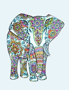 Adult Coloring Page of and Elephant