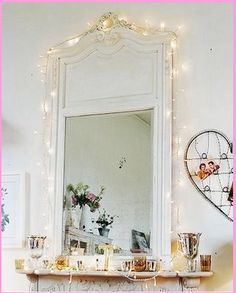 mirror and fairylights. I could do this cause I have an outlet above my mantel!