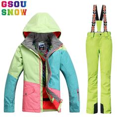 e0eb3e42ff GSOU SNOW Brand Ski Suit Women Winter Ski Jacket Pants Waterproof Snowboard  Jacket Pants Outdoor Mountain Skiing Suit Sport Coat-in Skiing Jackets from  ...