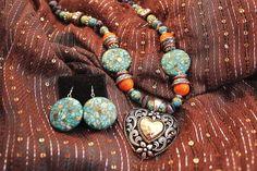 Beaded Western Silver Heart Pendant by KRoseTheCountryGirl on Etsy, $40.00