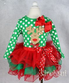 Holiday Xmas Christmas Outfit Reindeer Top by PrincessPettiskirts, $54.99