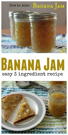 How to make banana jam Banana Jam, Banana Jelly, Banana Bread, How To Make Syrup, How To Make Jelly, How To Make Relish, Food To Make, Banana Spread Recipe, Banana Juice Recipe
