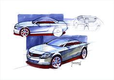 Sketches of the Lancia Fulvia Coupè concept, 2003  #lancia #design #ferrari #flaviomanzoni #passion #madeinitaly #designer #flaviomanzonidesign #ferraridesign #sketches #cardesign #drawings #illustration #art #cars #automotivedesign