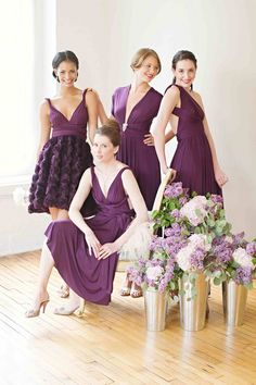 "Pretty plum purple bridesmaid dresses for inspiration for your upcoming wedding. Want even more ideas for your wedding? If you're looking for invitations, check out http://pinterest.com/jaclinart/wedding-invitations-library/ or visit www.zazzle.com/jaclinart* and type in ""wedding invitations"" into the searchbox."