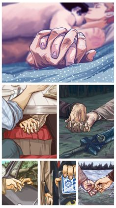 I don't generally ship Destiel but I love the artwork on this page, so I'm pinning it. It's also a great hand reference page!