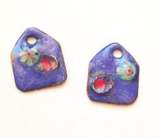 little enamel copper charms with coiled copper & murrini detail