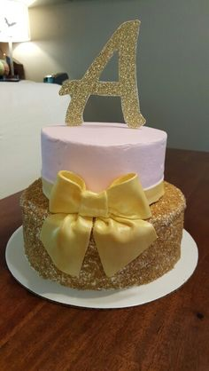 Pink and gold cake by Karen's Kaykes