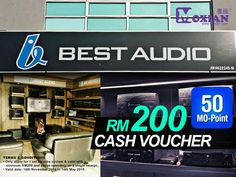 Get a RM200 Cash Voucher with 50 Mo-Point, there are a lot of amazing audio gadget's option available in Best Audio. Valid until 14th May 2015 *T&C Apply. There are much more vouchers at www.moxian.com/moreward or more easier get it using our Moxian app.