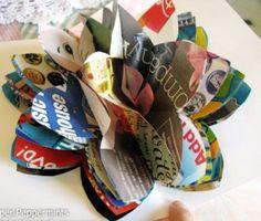 3D Magazine Paper Flowers | AllFreeHolidayCrafts.com