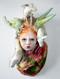 green - woman and animals - figurative ceramic sculpture - Cary Weigand
