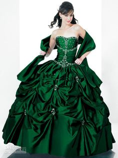 2013 CHEAP free shipping beaded strapless ruffle ball gown emerald green quinceanera dresses prom dresses(China (Mainland))