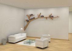 Creative Tree Bookshelf Designs Offering Natural Look : Exquisite Light Wood Tree Shaped Bookshelf Design Inspiration in White Themed Living Room with White Leather Sofa Tree Bookshelf, Tree Shelf, Bookshelf Design, Bookshelf Ideas, Tree Wall, Modern Bookshelf, Shelving Ideas, Shelving Systems, Tree Book Shelves