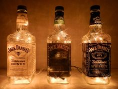 #annacampbellbridal #bridetobe Trip Jacks 3 Jack Daniel's Lighted Bottles by BoMoLuTra on Etsy