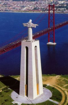 This statue in Almada, Portugal is very similar to the famous statue of Jesus located in Rio De Janeirro, Brazil. We also have a bridge twin of the Golden Gate. It's Portugal Sintra Portugal, Spain And Portugal, Portugal Vacation, Portugal Travel, Italy Vacation, Algarve, Places Around The World, Around The Worlds, Beautiful World