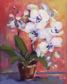 "Daily Paintworks - ""Little White Orchid"" - Original Fine Art for Sale - © Pamela Gatens"
