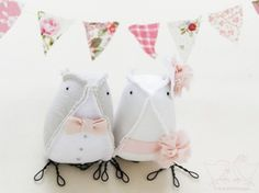 Wedding Cake Topper Fabric Birds Light Grey, Ivory and Vintage Pink