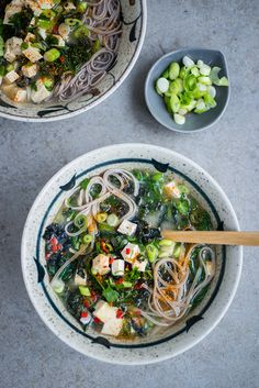 Japanese Miso, Kale and Tofu Soup with buckwheat soba noodles. Healthy, quick, and seriously delicious!