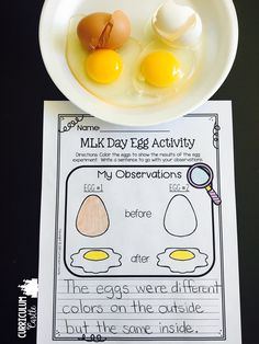 Martin Luther King, Jr.-MLK day egg activity! Great visual for celebrating diversity and showing we are all the same on the inside.