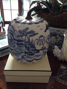 A memorable lunch with friends..... - The Enchanted Home.  Incredible painted blue and white pumpkin.