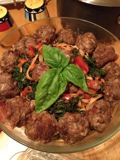 linguini with meatballs- grass fed beef, spicy sausage, with fresh kale and tomatoes.